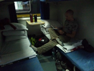 Getting comfy on the sleeper train