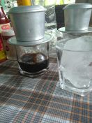 Drip coffee with a rock of ice